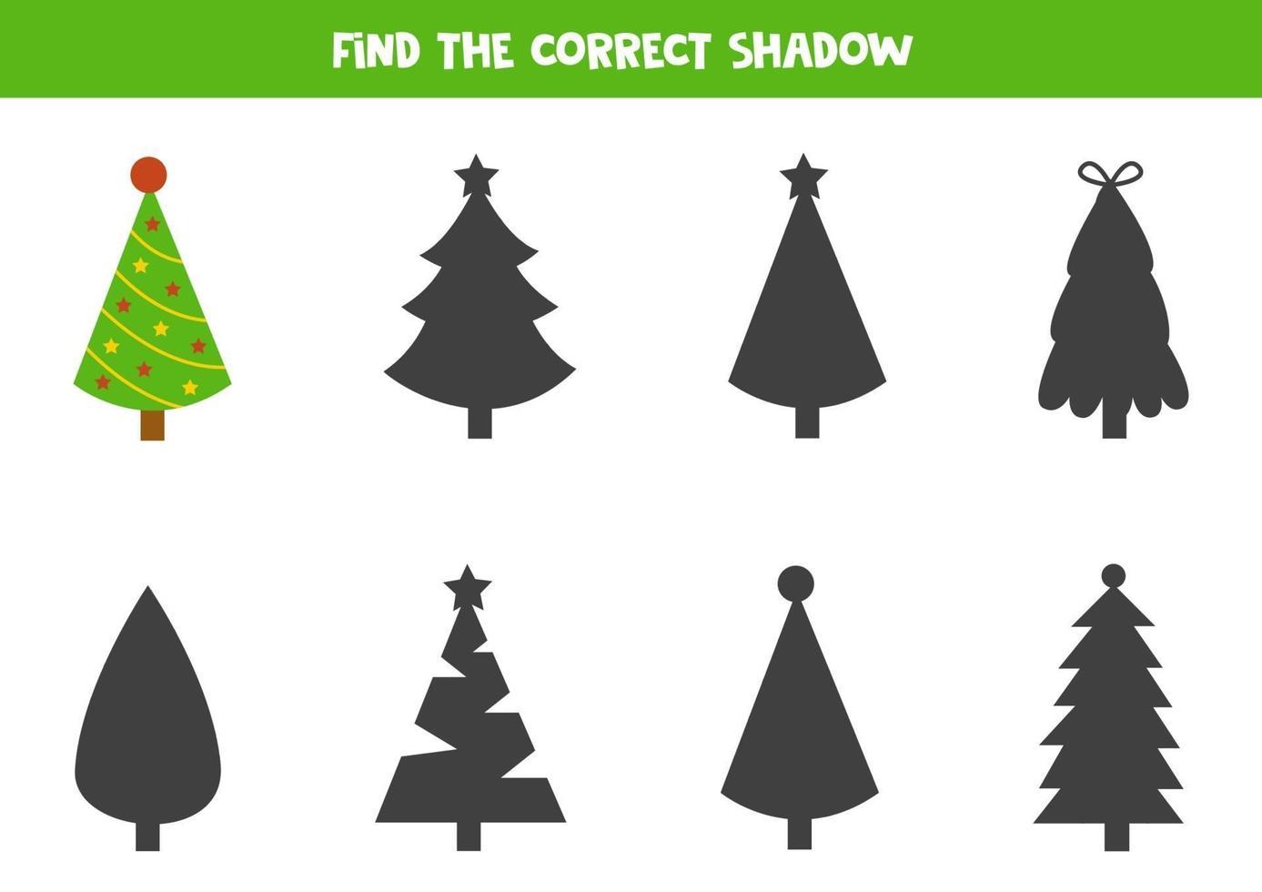 trouver la bonne ombre de sapin de Noël. vecteur