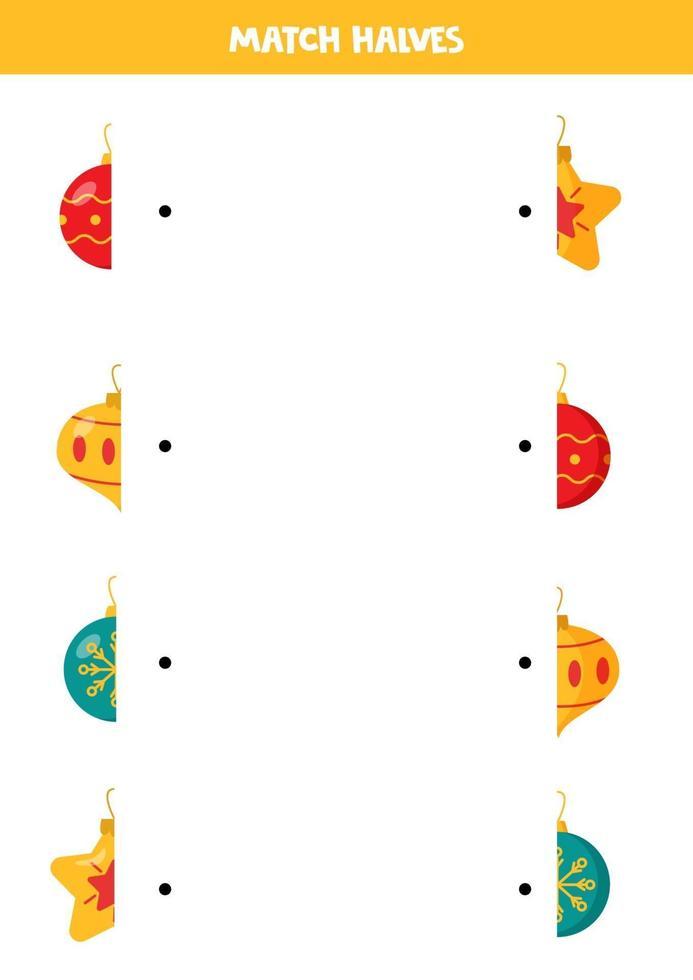 faire correspondre les moitiés de boules de Noël. feuille de calcul pour les enfants. vecteur