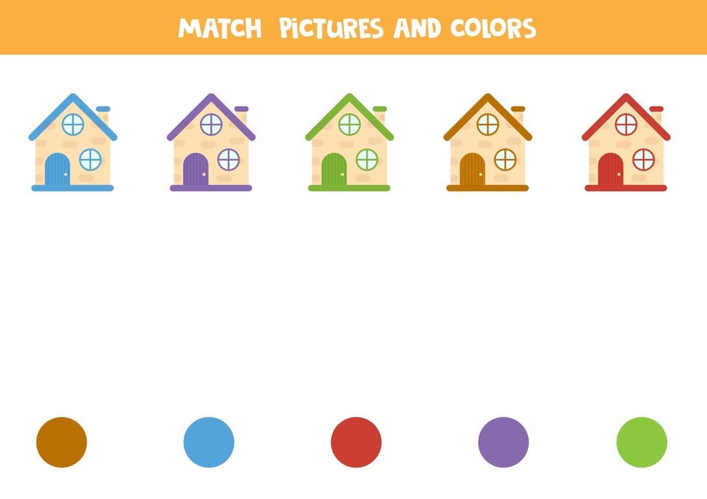 jeu de correspondance des couleurs avec des maisons de dessins animés. feuille de calcul pour les enfants. vecteur