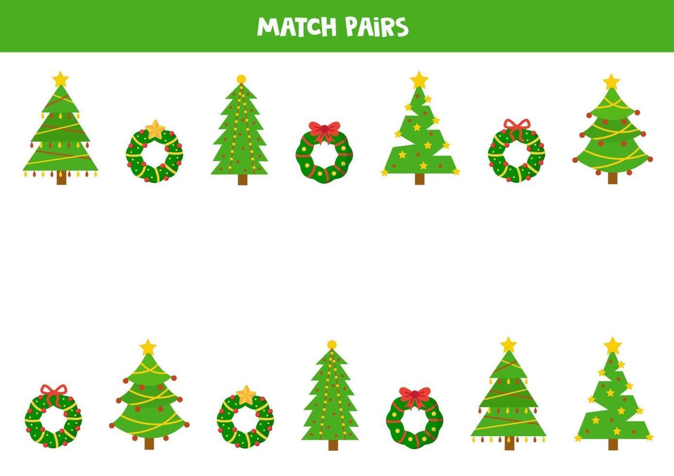 trouvez la paire pour chaque arbre de Noël et guirlande. vecteur