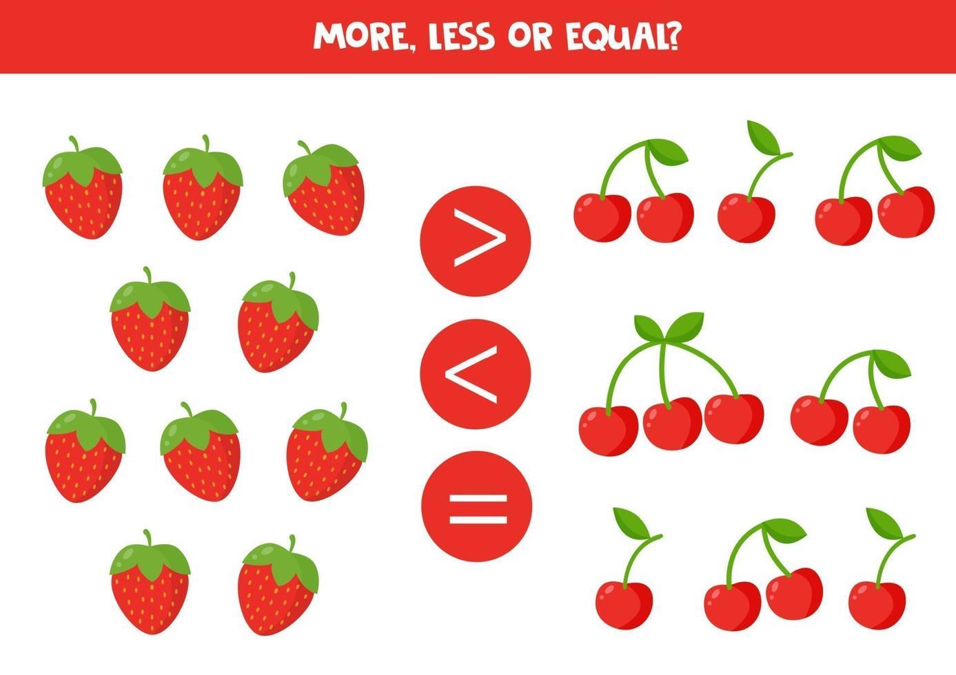 comptez toutes les fraises et les cerises. comparer les nombres. vecteur