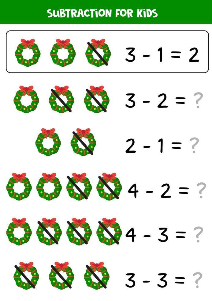 jeu de soustraction pour les enfants avec des couronnes de Noël de dessin animé. vecteur