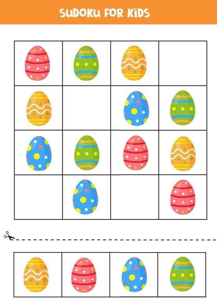 jeu de sudoku. ensemble d'oeufs de Pâques colorés. vecteur