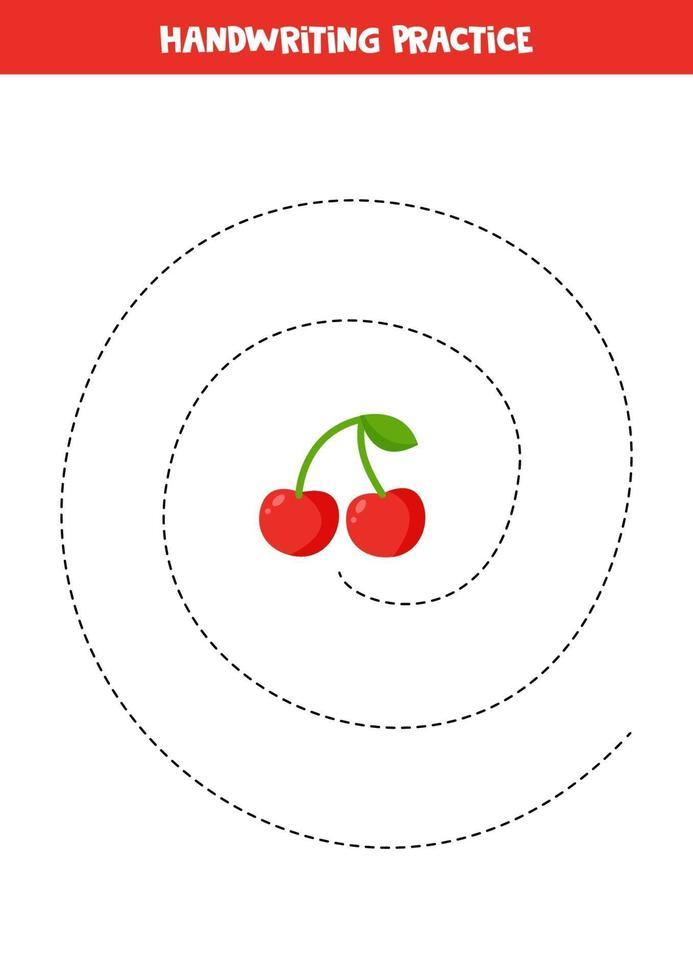traçant des lignes avec de la cerise. pratique des compétences d'écriture pour les enfants. vecteur
