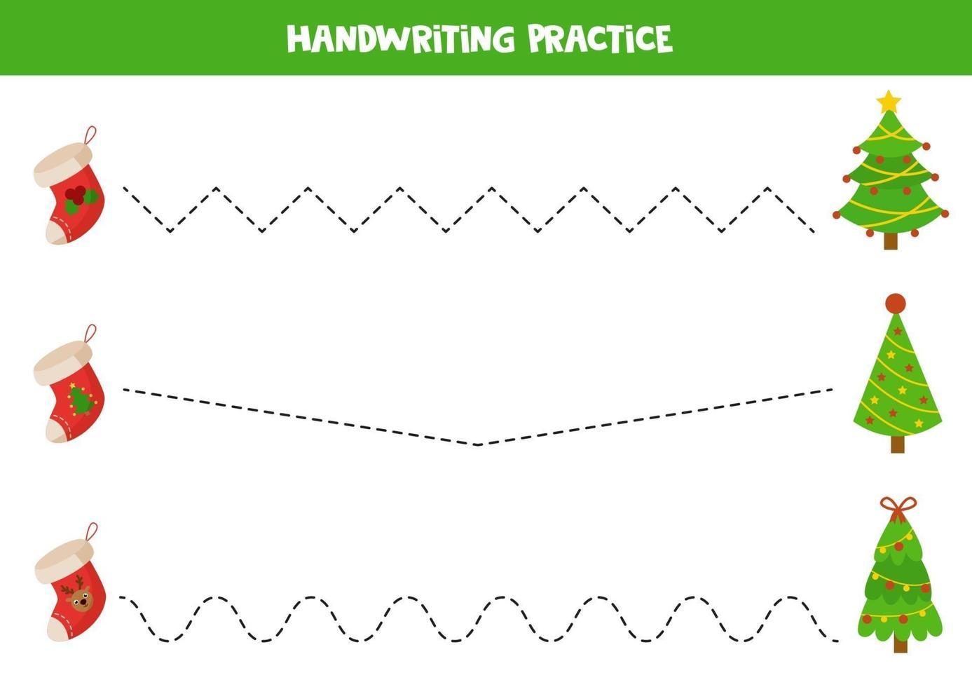 tracez les lignes avec des chaussettes et des arbres de Noël de dessin animé. vecteur