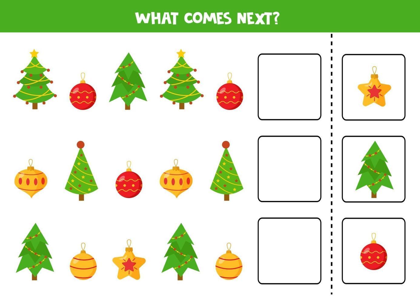 quelle boule de Noël et quel arbre viennent ensuite. feuille de calcul logique pour les enfants. vecteur