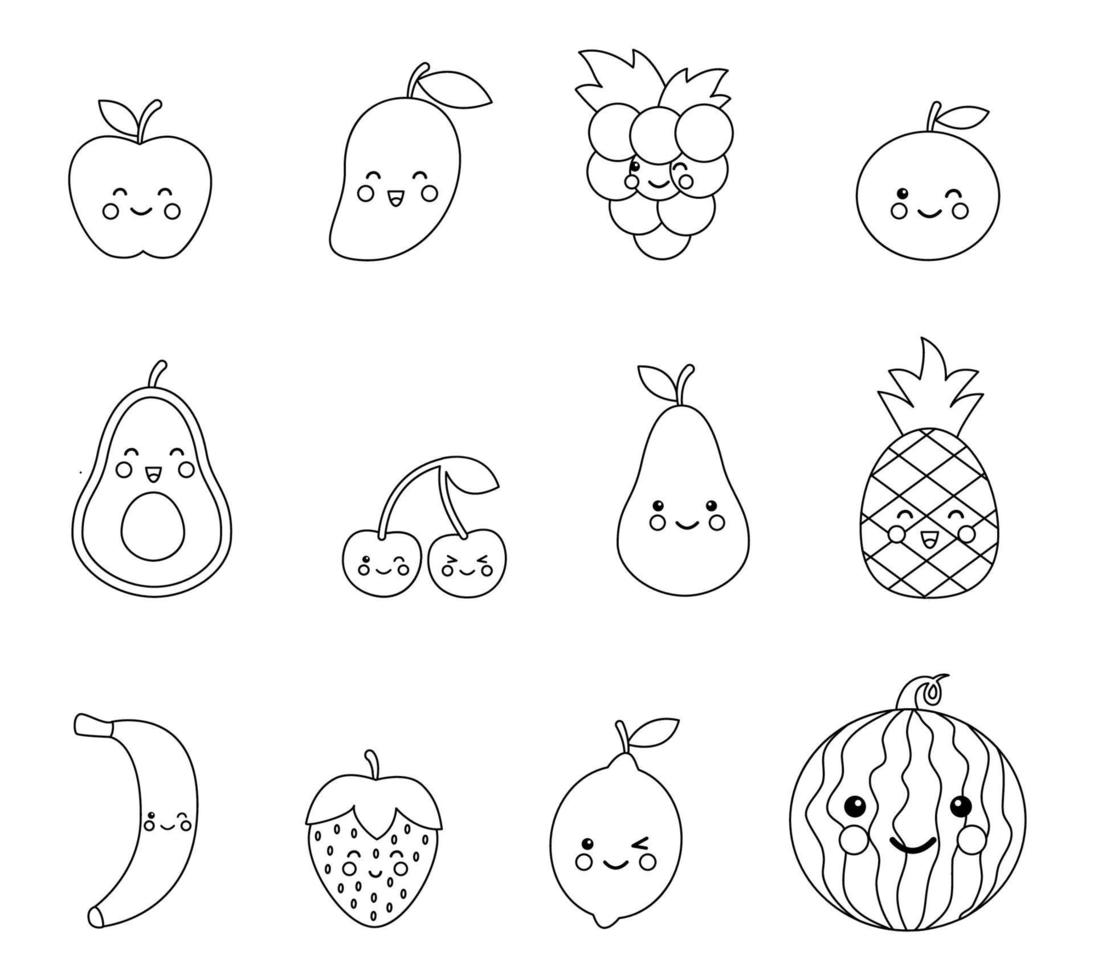 Coloriage avec de jolis fruits et baies kawaii. ensemble de fruits noirs et blancs. vecteur
