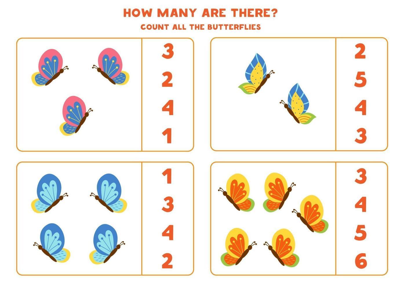 jeu de comptage avec des papillons. feuille de calcul mathématique. vecteur