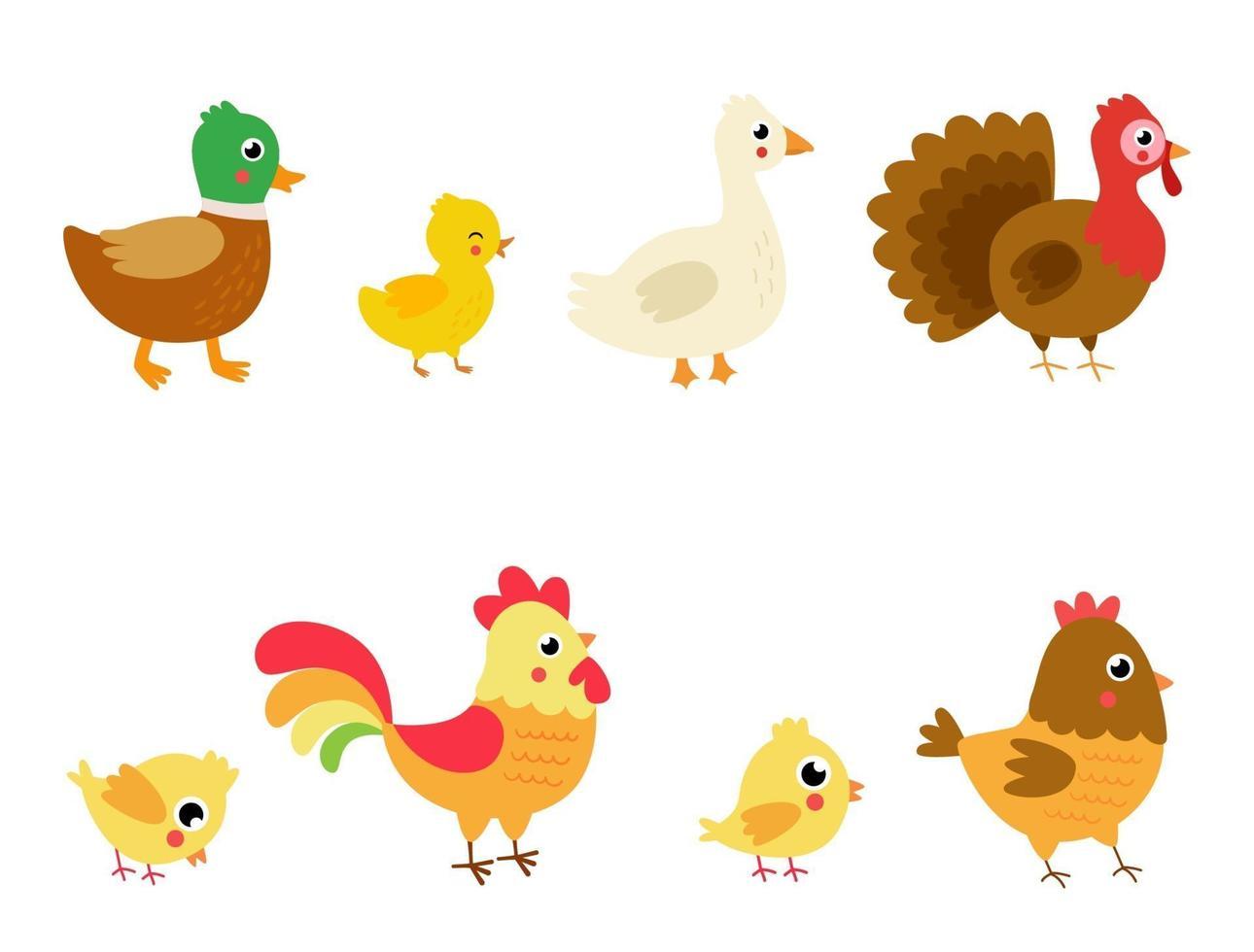 ensemble d'offres de ferme de dessin animé mignon. illustrations vectorielles. vecteur