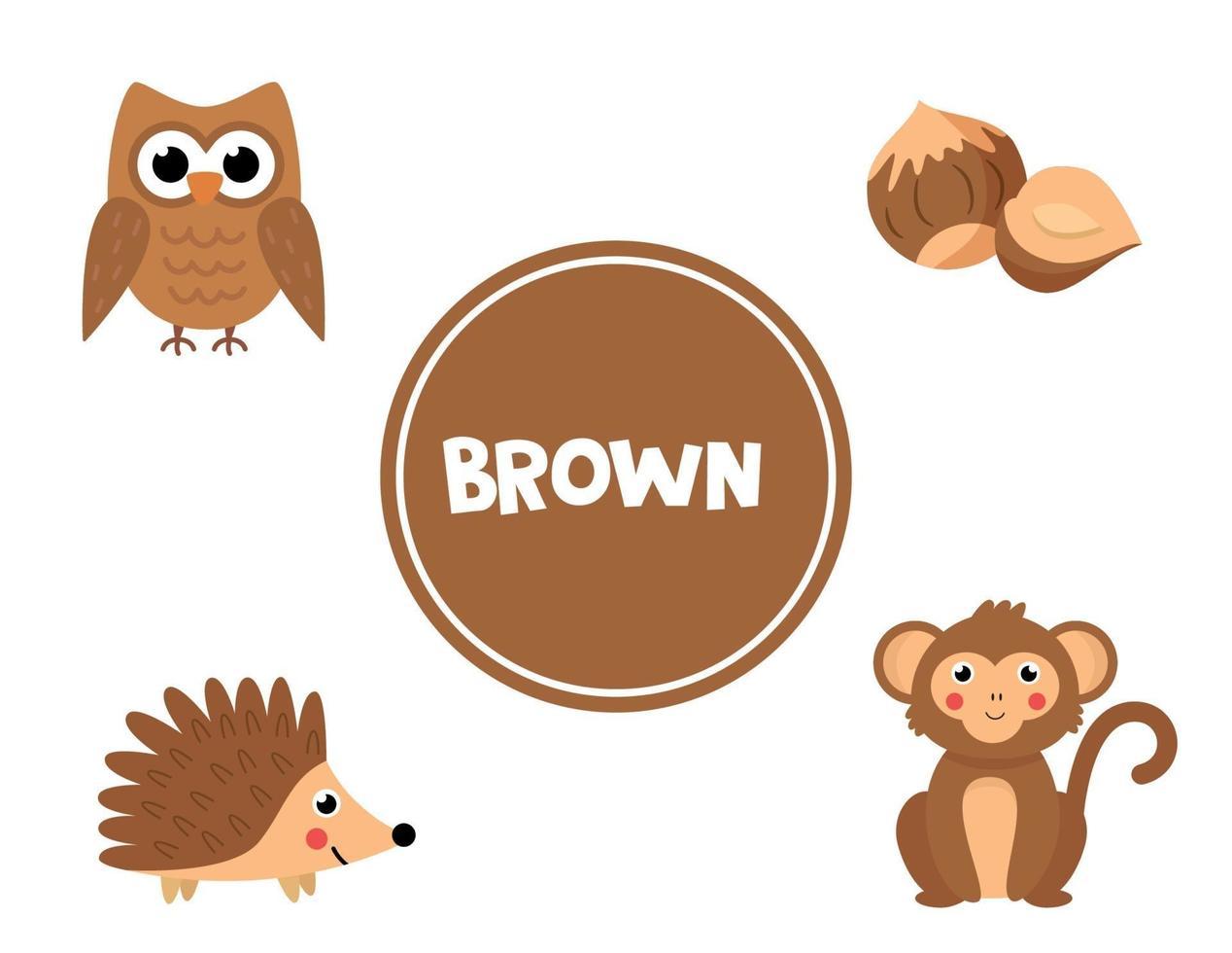 apprendre la couleur brune pour les enfants d'âge préscolaire. feuille de travail pédagogique. vecteur