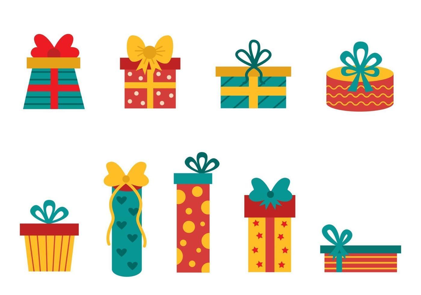 collection de coffrets cadeaux colorés pour Noël. vecteur