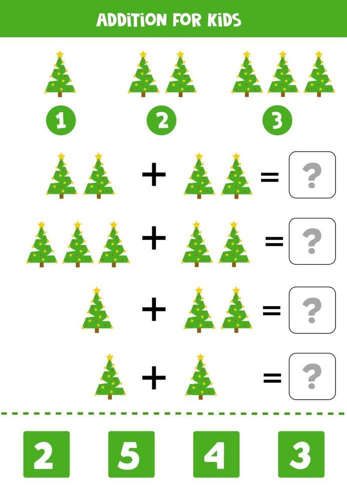 jeu de mathématiques pour les enfants. addition avec arbre de Noël. vecteur