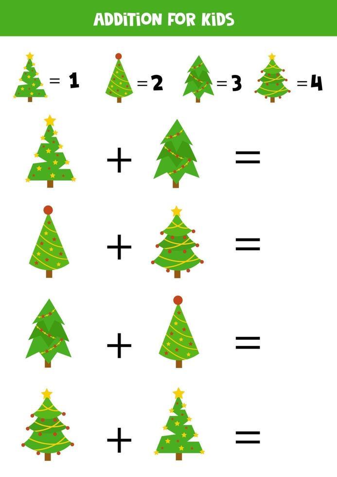 plus avec des sapins de Noël. jeu mathématique pour les enfants. vecteur