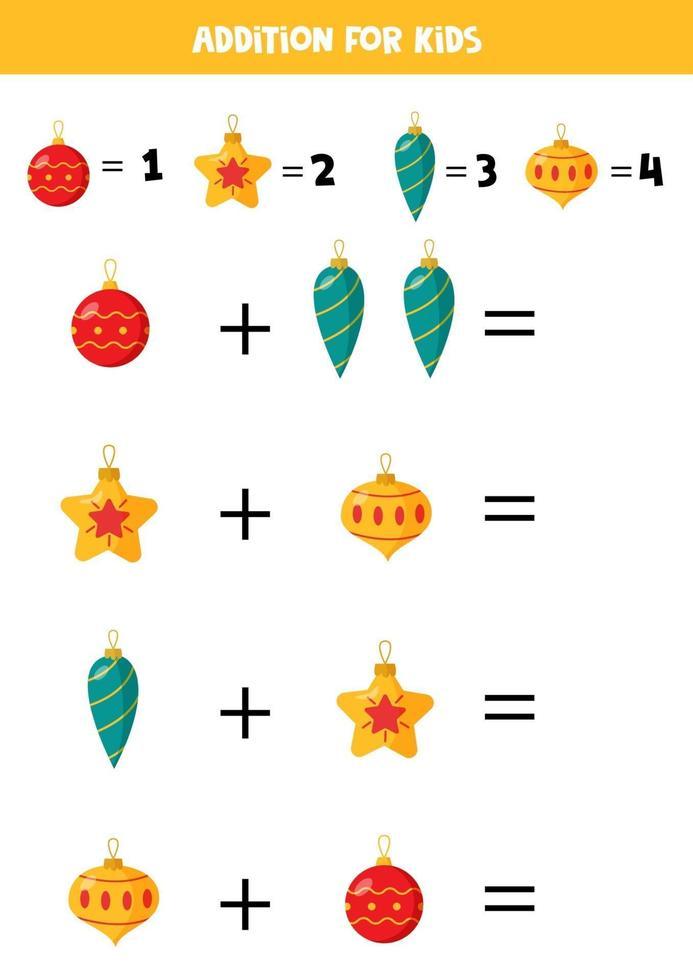 plus avec des boules de Noël. jeu mathématique pour les enfants. vecteur