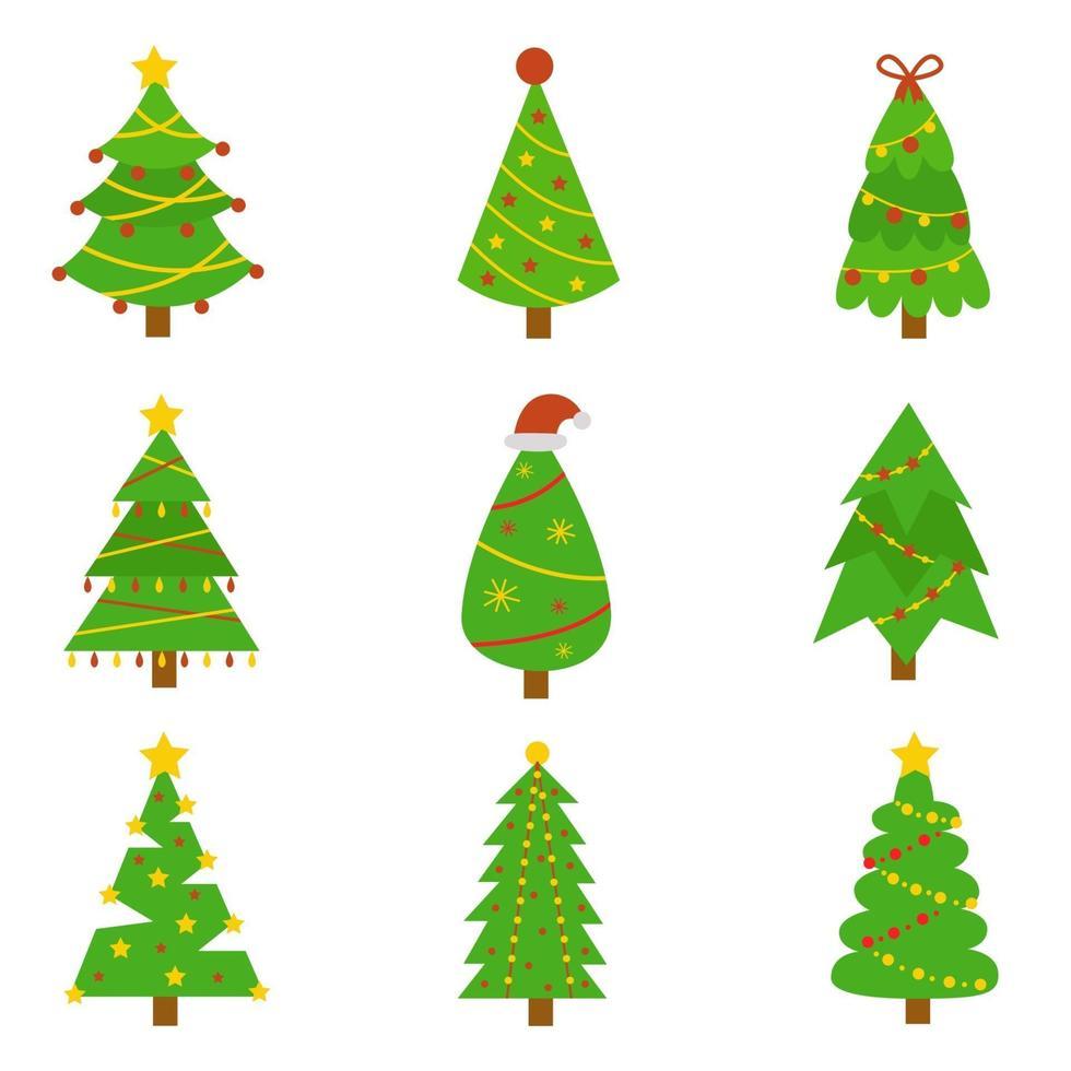 ensemble de sapins de Noël. images vectorielles sur fond blanc. vecteur