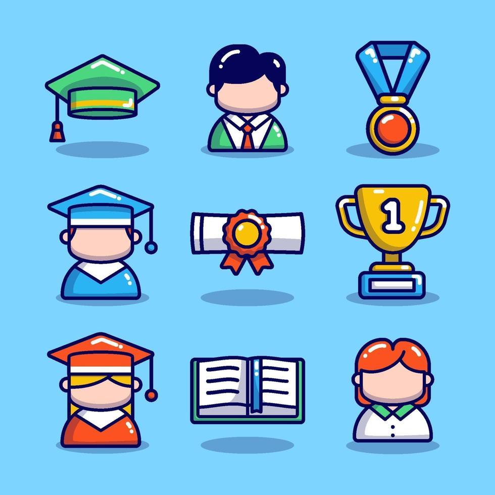 icône de graduation sertie de fond bleu vecteur
