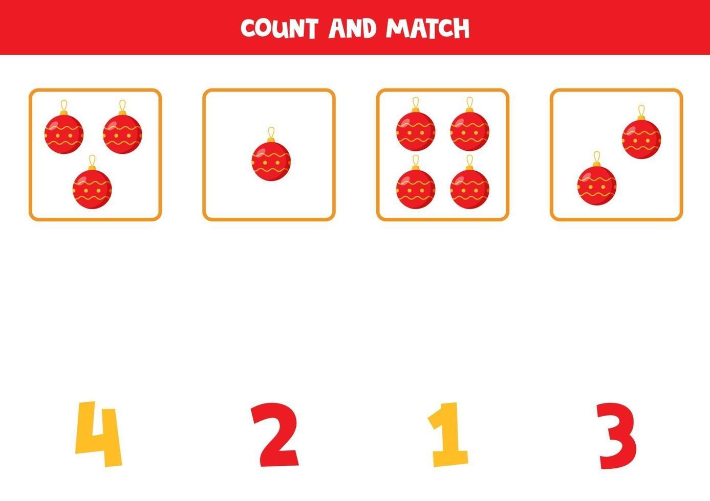 jeu de comptage pour les enfants. comptez toutes les boules de Noël. vecteur