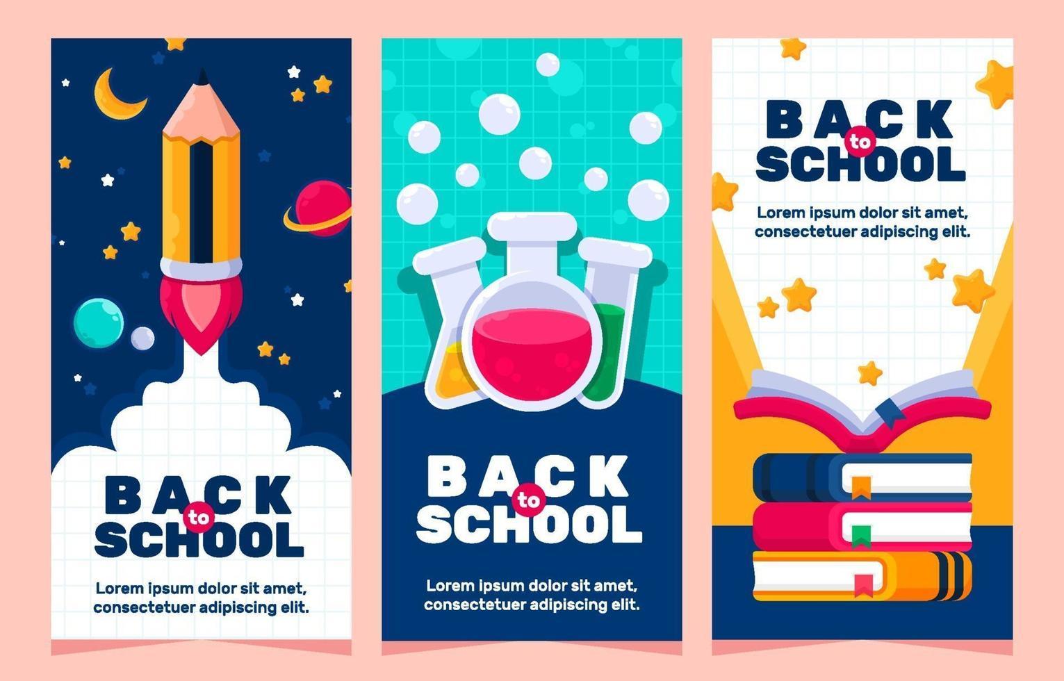 retour coloré aux bannières d & # 39; école vecteur