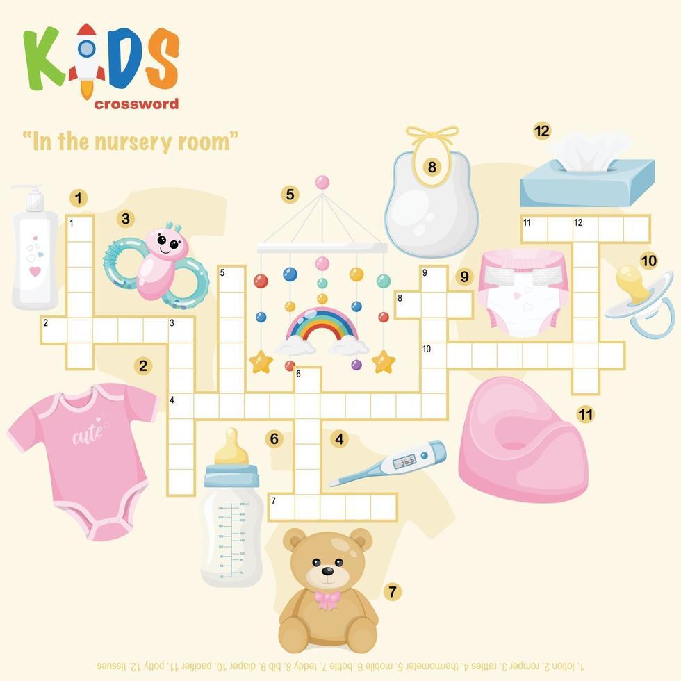 dans le puzzle de mots croisés de la chambre de bébé vecteur