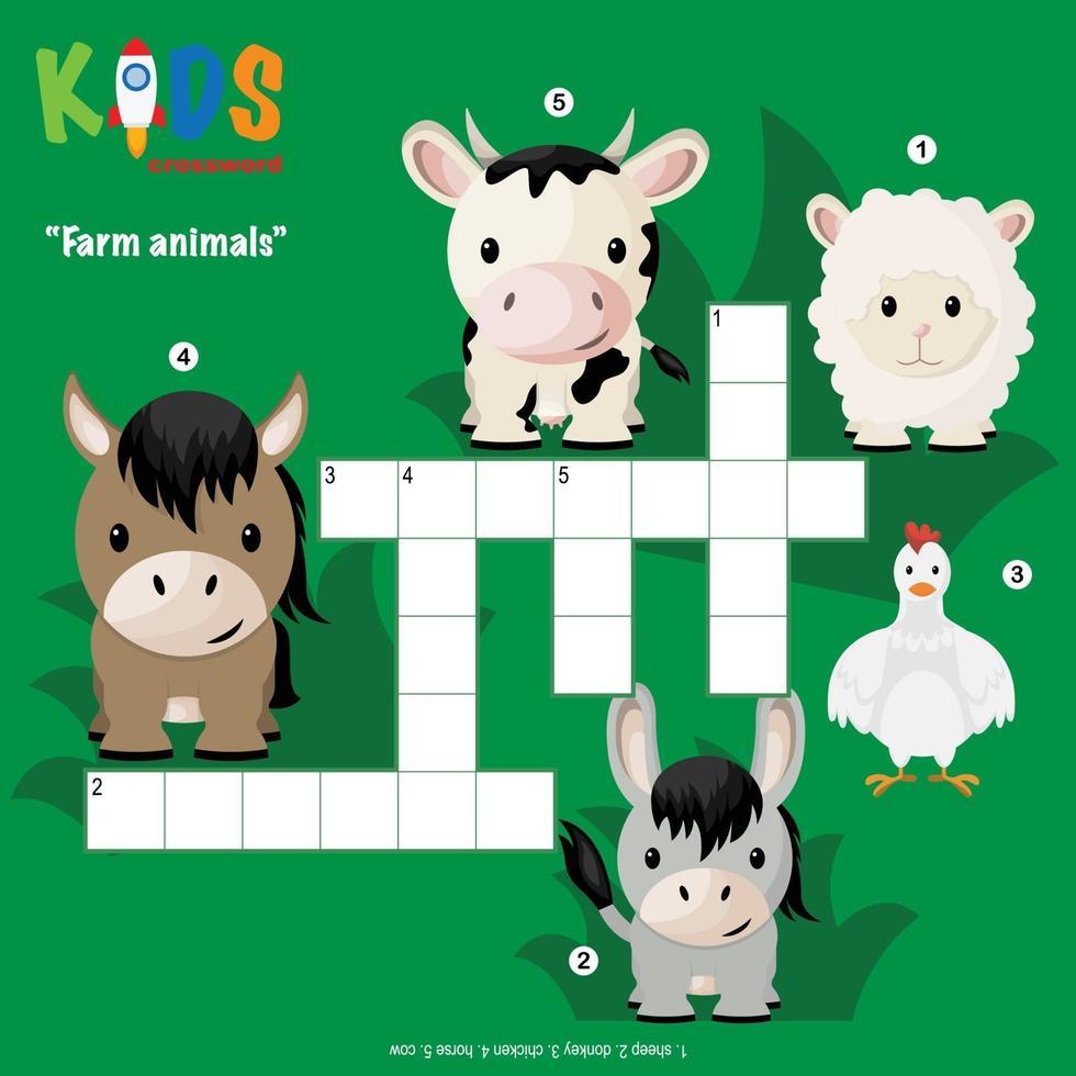 puzzle de mots croisés animaux de la ferme vecteur