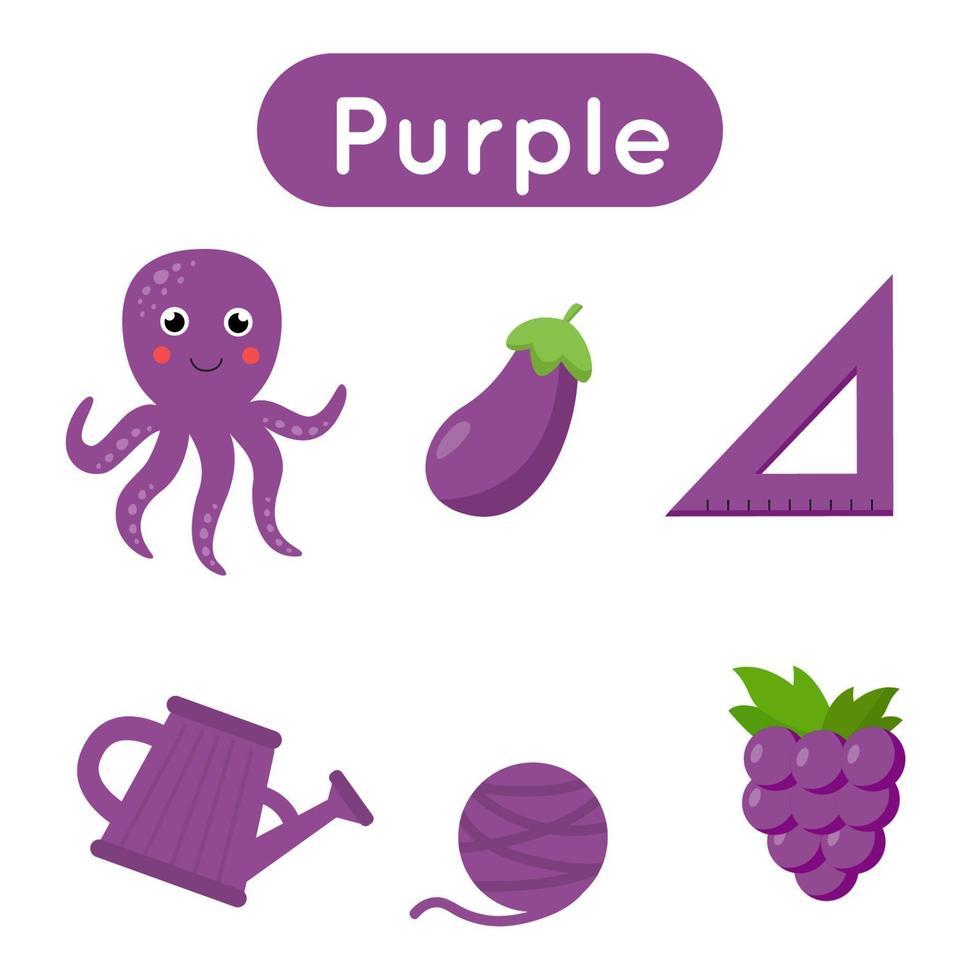cartes flash avec des objets de couleur violette. feuille de travail imprimable éducative. vecteur