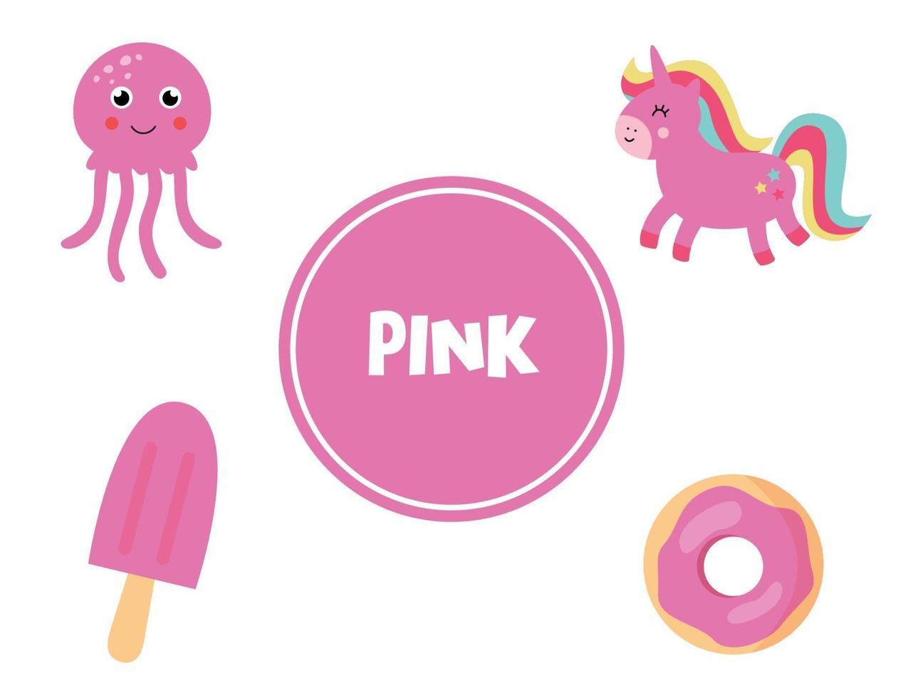 apprendre la couleur rose pour les enfants d'âge préscolaire. feuille de travail pédagogique. vecteur