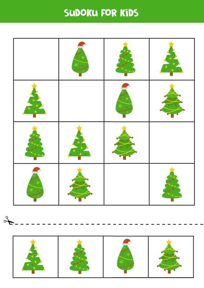 jeu de sudoku avec des arbres de Noël de dessin animé. apprendre pour les enfants. vecteur