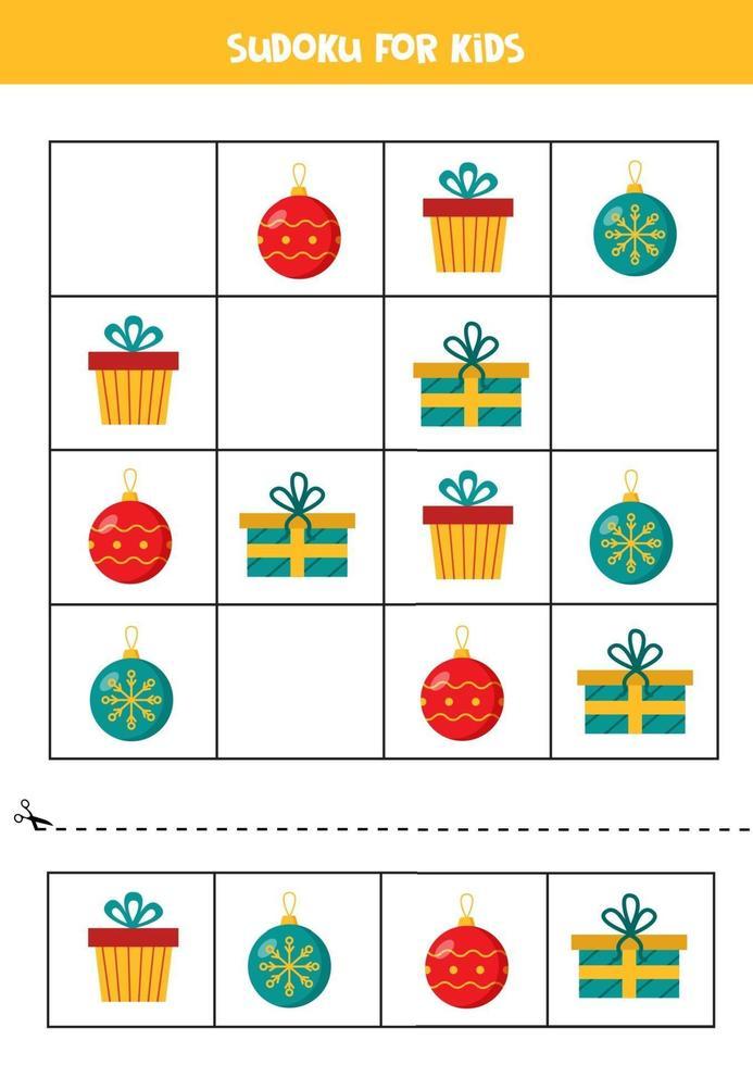 jeu de puzzle sudoku pour les enfants d'âge préscolaire avec des boules de Noël et des cadeaux. vecteur