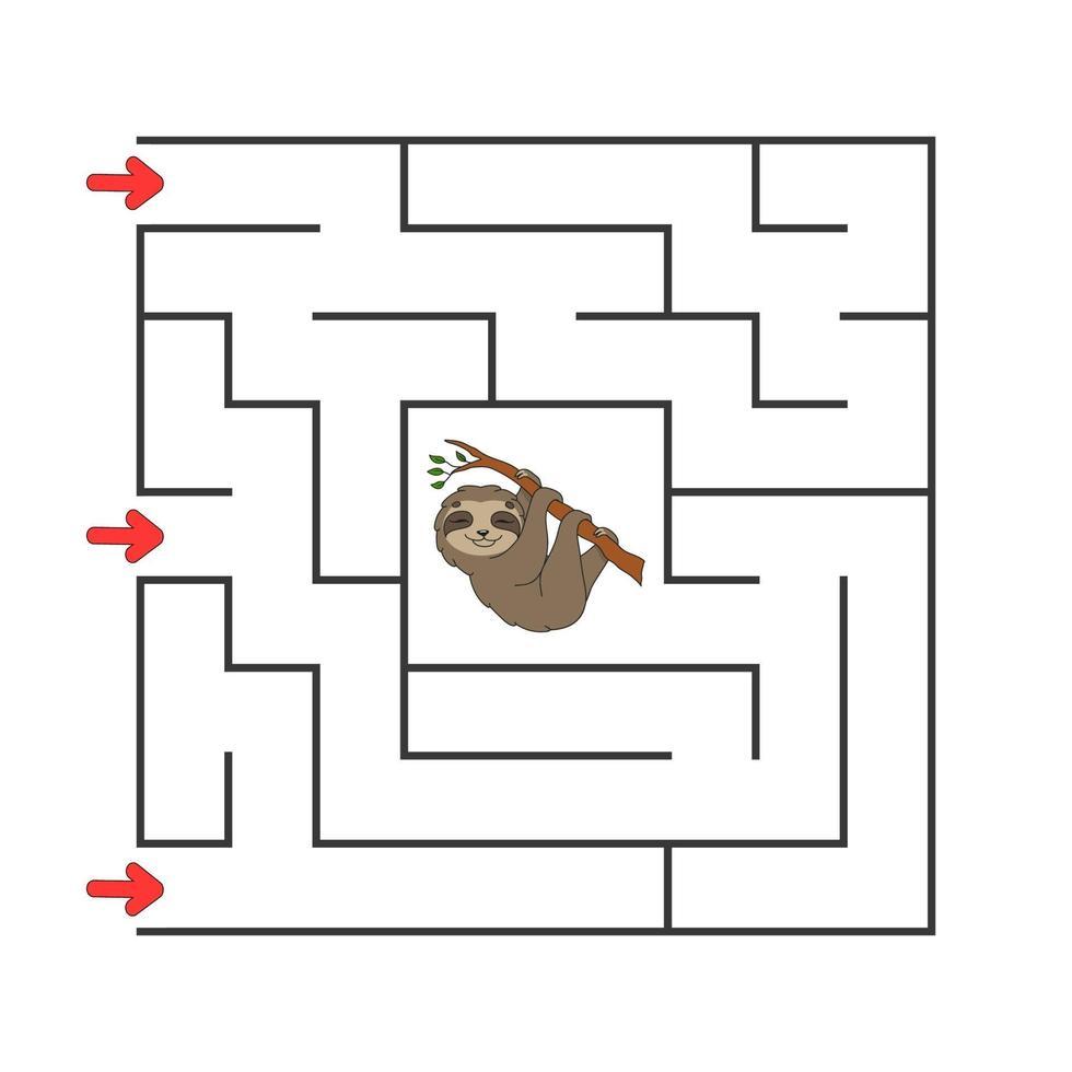 labyrinthe carré. jeu pour les enfants. puzzle pour les enfants. personnage de dessin animé. énigme labyrinthe. illustration vectorielle de couleur. trouver le bon chemin. le développement de la pensée logique et spatiale. vecteur