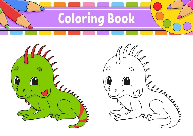 livre de coloriage avec iguane vecteur