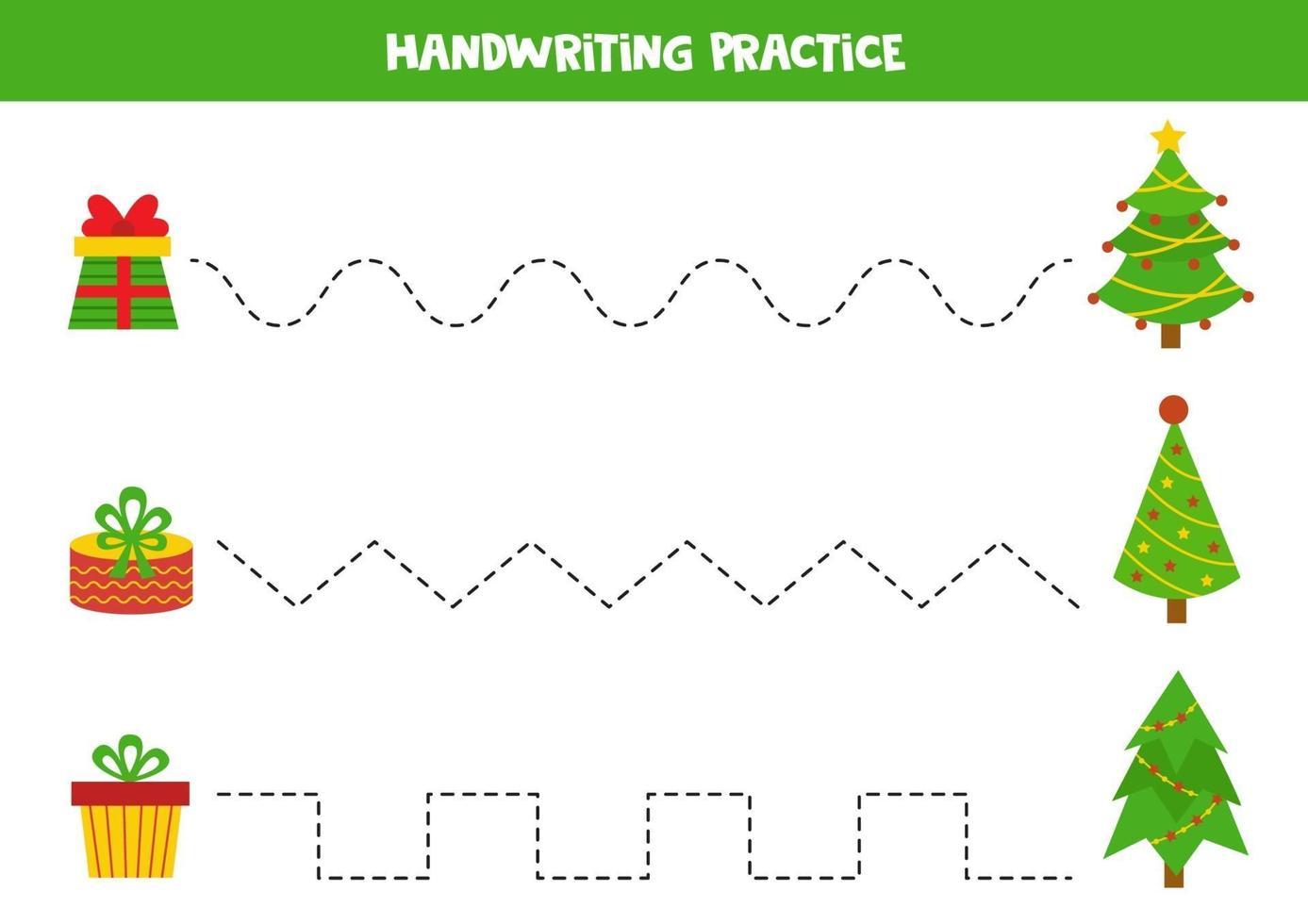 pratique de l'écriture avec des sapins de dessin animé et des boîtes à cadeaux. vecteur