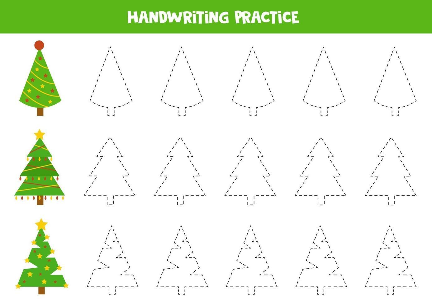 pratique des compétences d'écriture. traçant des lignes avec des arbres de Noël. vecteur
