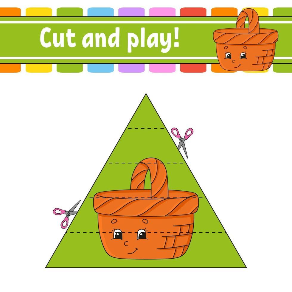 couper et jouer au jeu avec panier vecteur