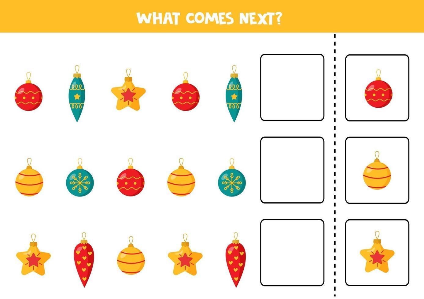 ce qui vient ensuite avec les boules de Noël. continuer la séquence. vecteur