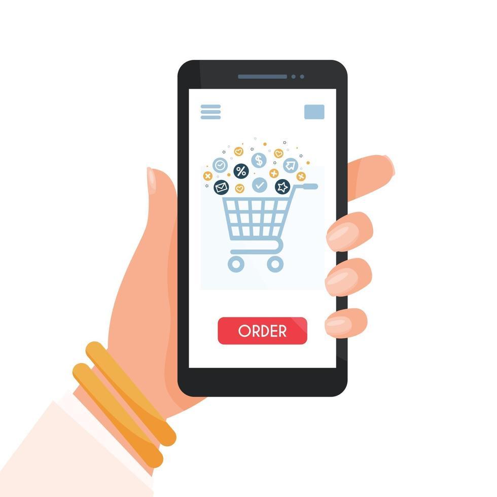 achats en ligne sur smartphone vecteur