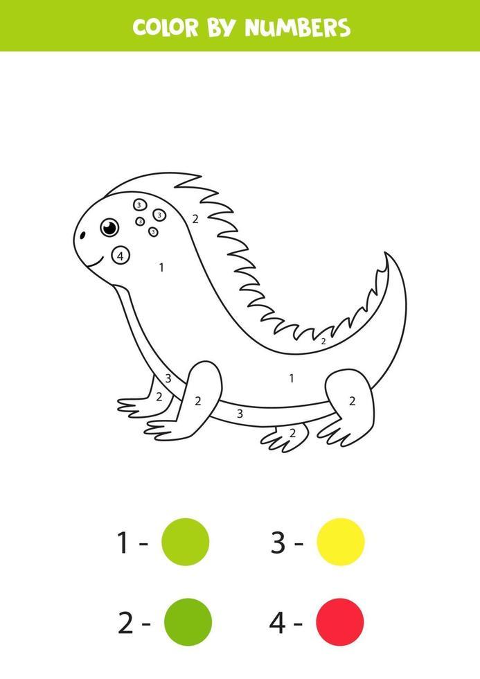 Coloriage avec un iguane mignon de bande dessinée. jeu éducatif. vecteur