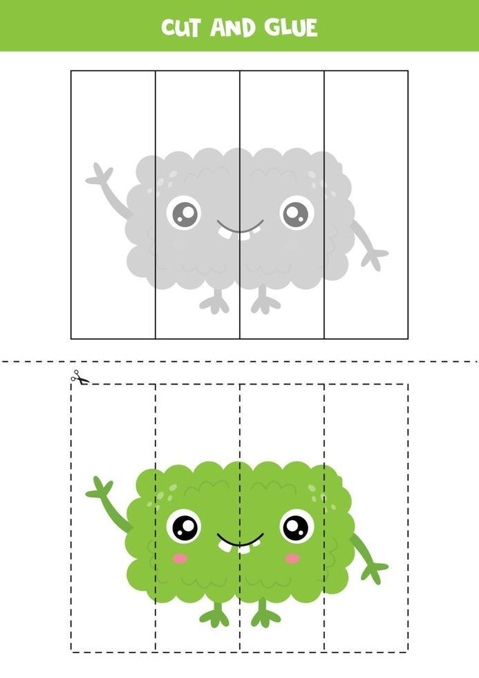 jeu de coupe et de colle pour les enfants. monstre vert de dessin animé mignon. vecteur