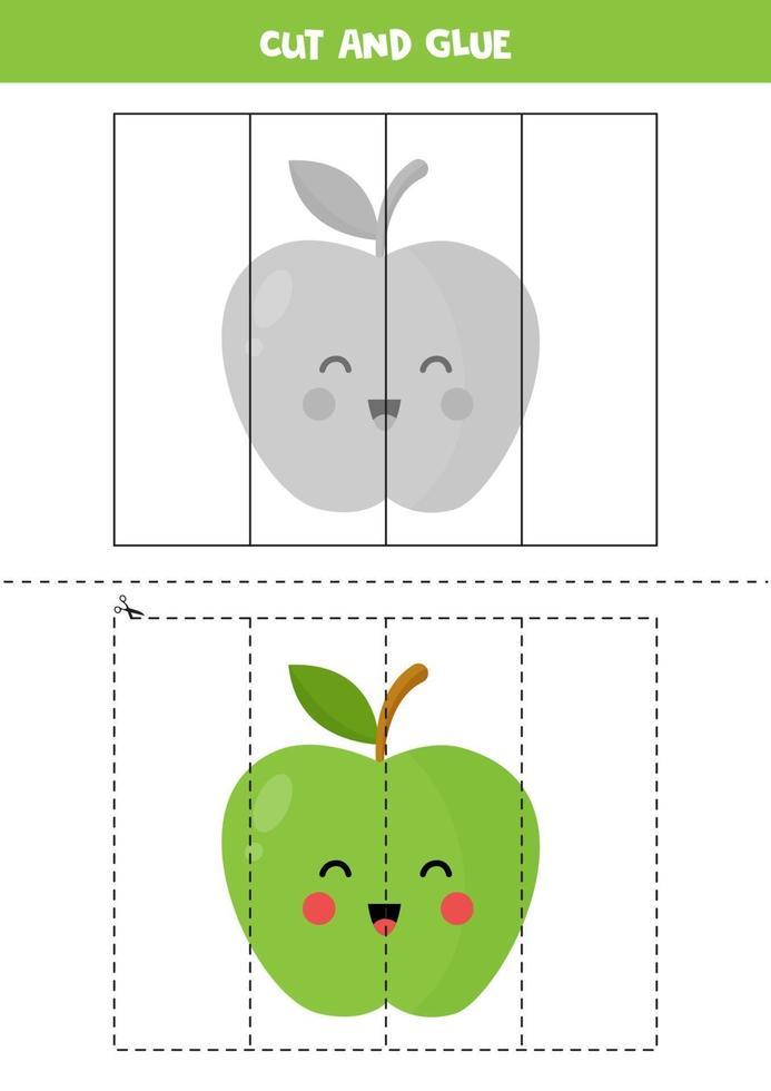 jeu de coupe et de colle pour les enfants. jolie pomme kawaii. vecteur