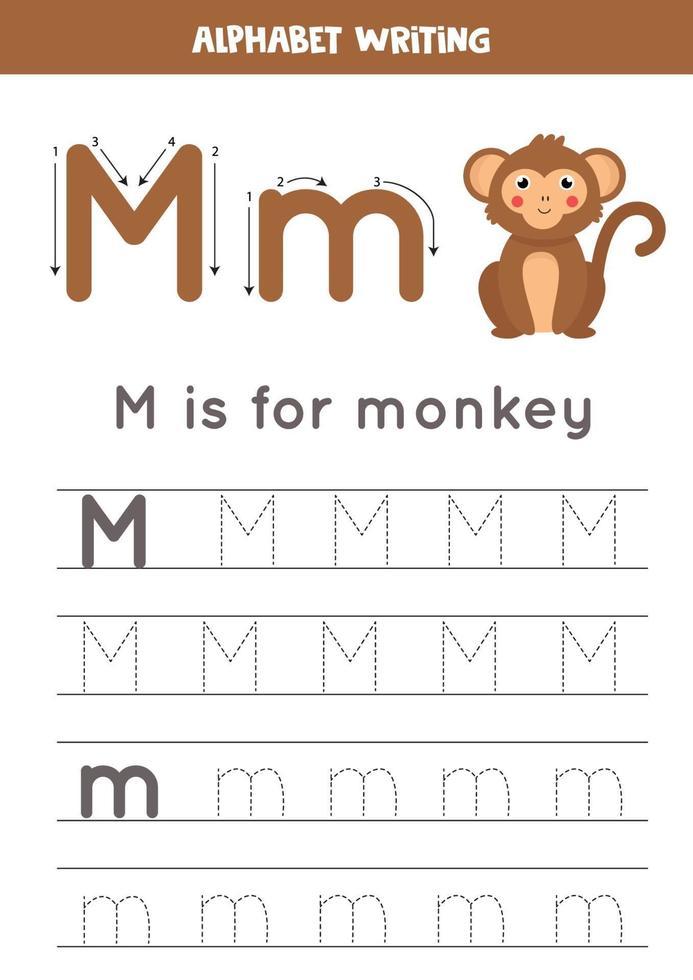 traçage de l'alphabet anglais. la lettre m est pour le singe. vecteur