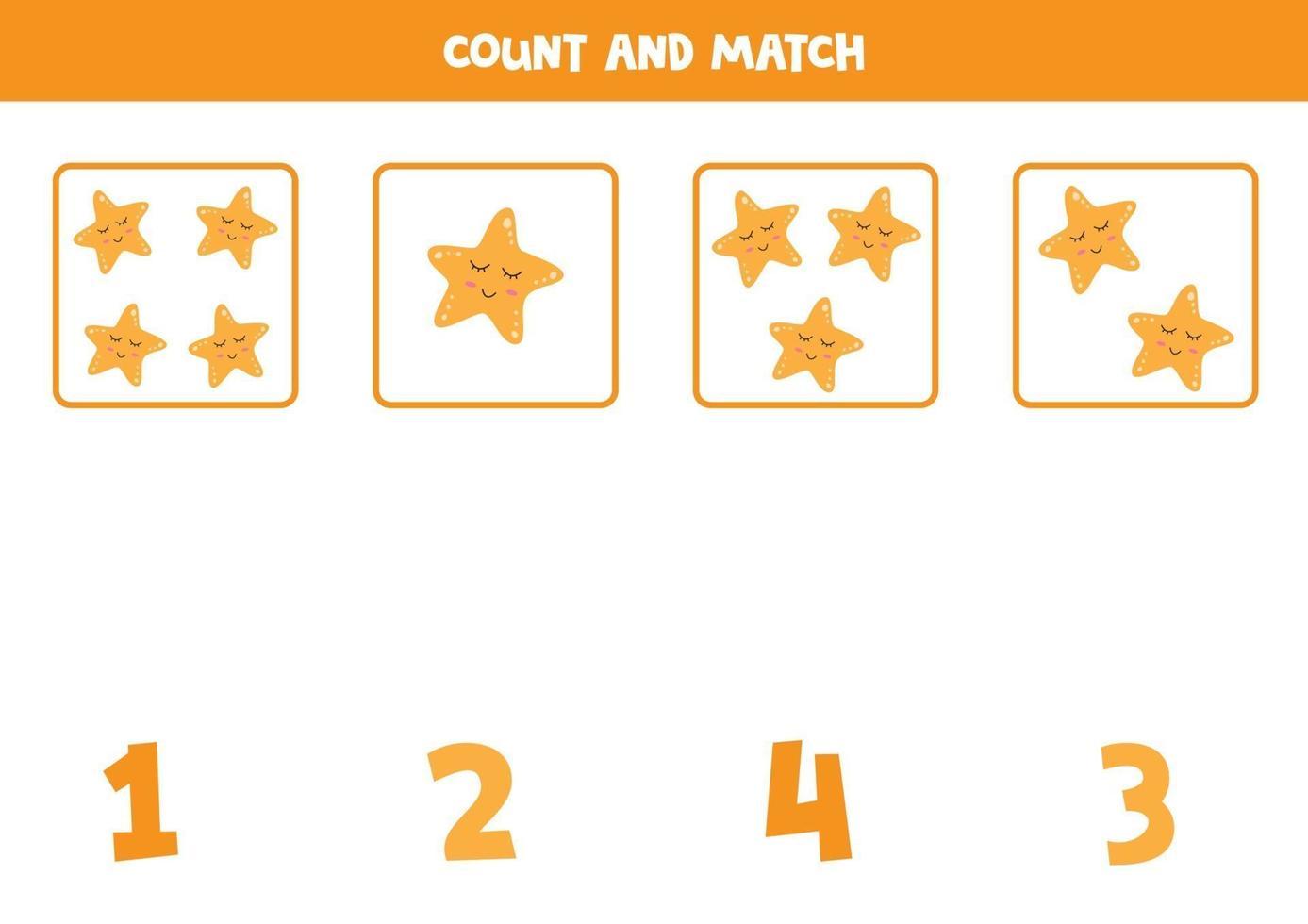 jeu de comptage avec étoile de mer de dessin animé mignon. jeu de maths. vecteur