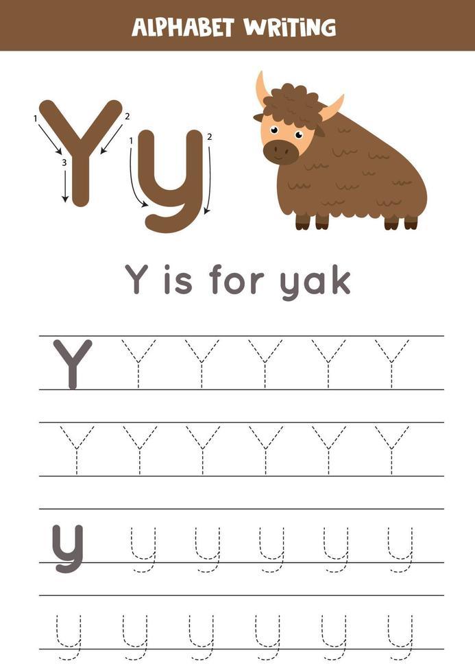 traçage de l'alphabet anglais. la lettre y est pour le yak. vecteur