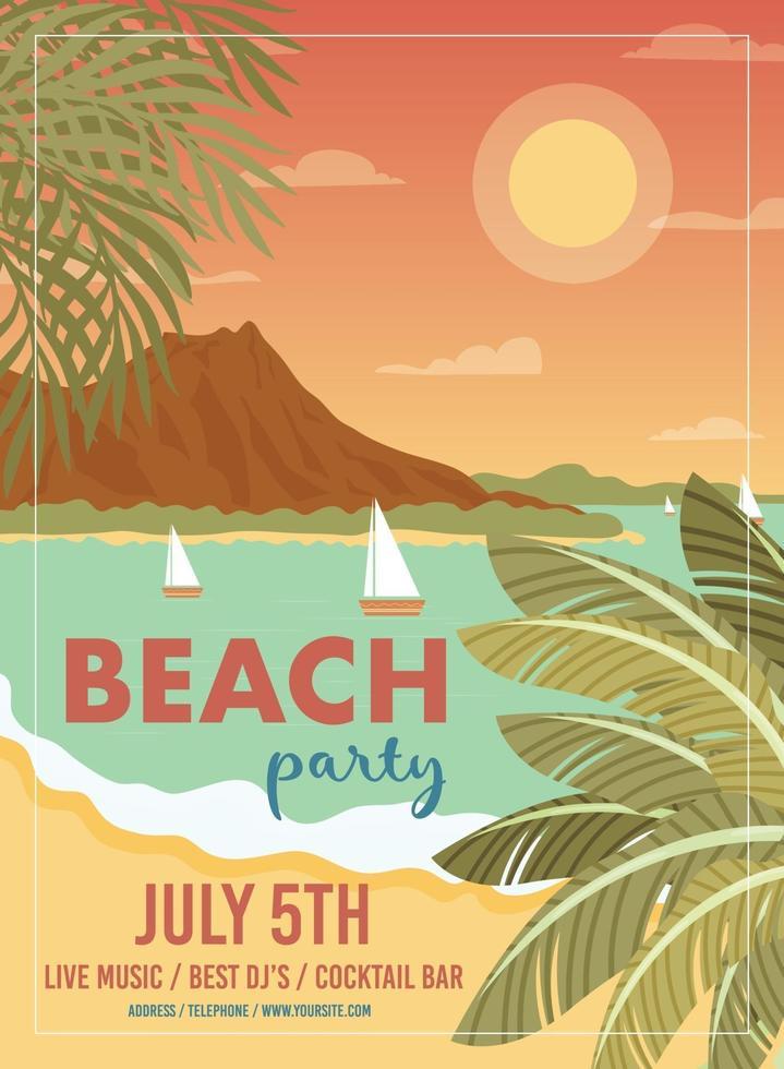 affiche de fête sur la plage vecteur