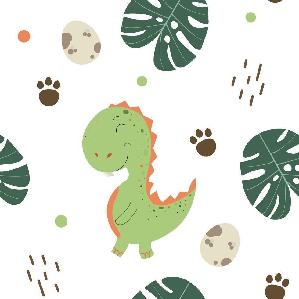modèle sans couture enfantin avec dino dessiné à la main dans un style scandinave. illustration cool de t-rex pour t-shirt de crèche, vêtements pour enfants, couverture d'invitation, conception de fond simple enfant. illustration vectorielle. vecteur