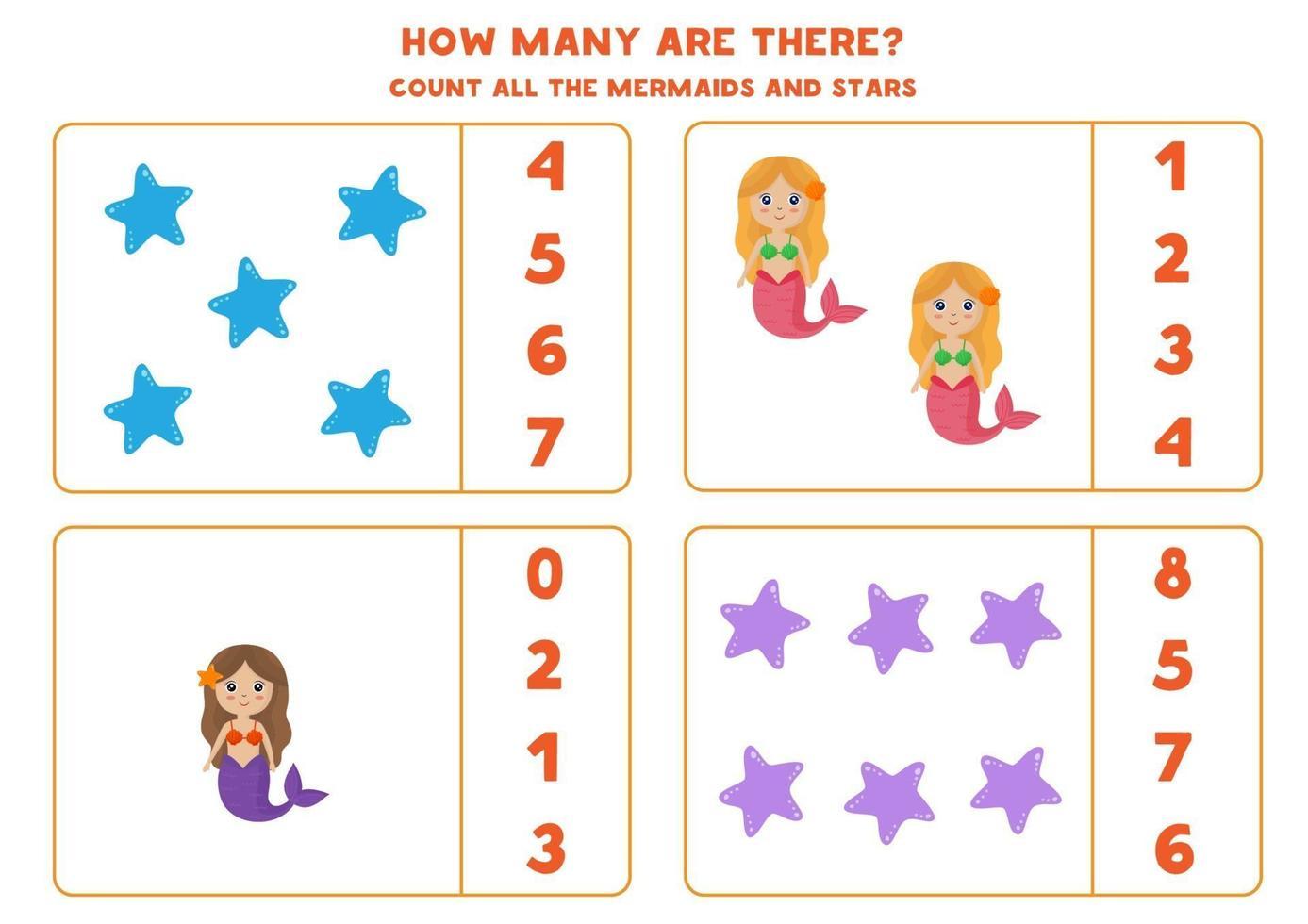 jeu de comptage avec des sirènes et des étoiles de mer. feuille de calcul mathématique. vecteur