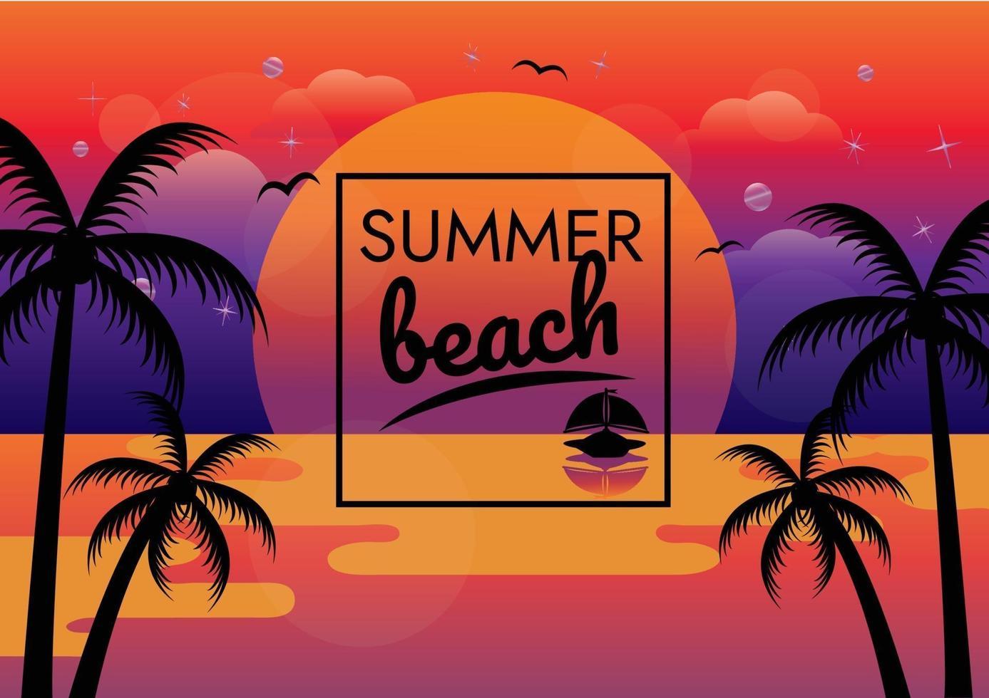 vecteur d'affiche de fête de plage coucher de soleil