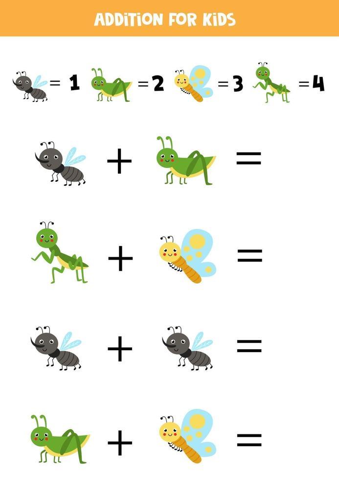 ajout pour les enfants avec des insectes mignons de bande dessinée. vecteur