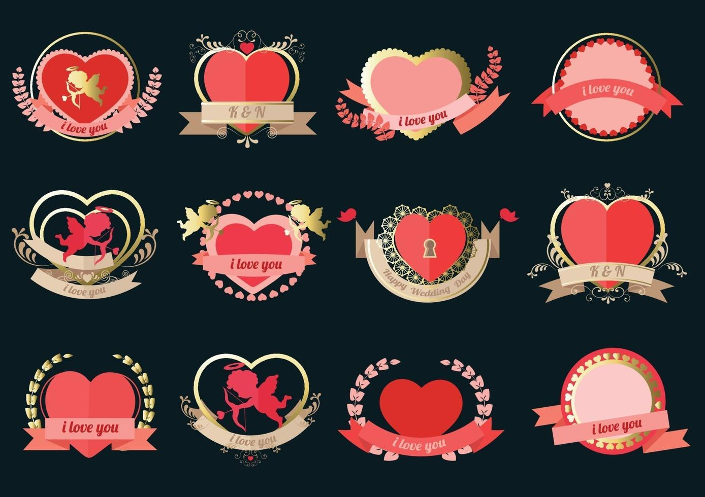 ensemble d & # 39; étiquettes de coeur pour carte de mariage ou Saint Valentin vecteur