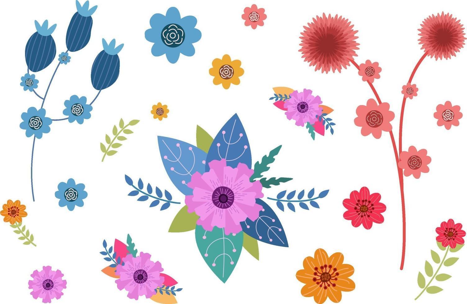 bel ensemble de fleurs vecteur