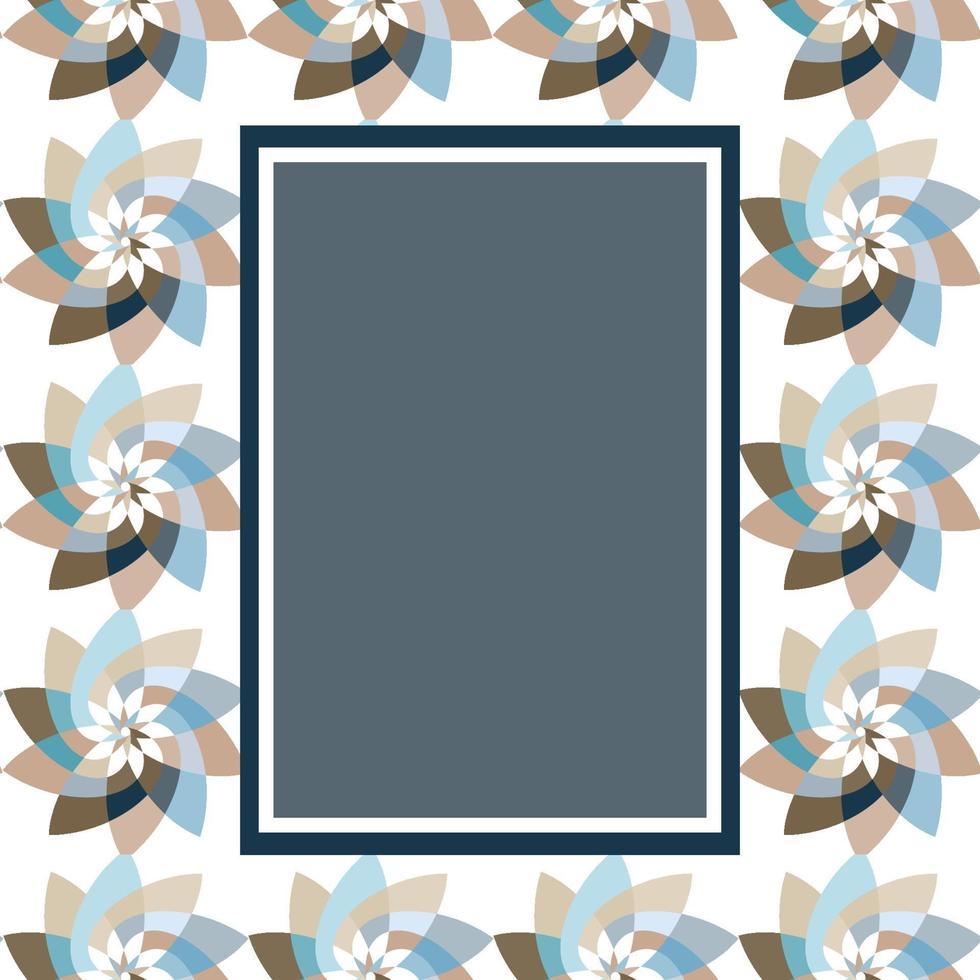 modèle rectangulaire de fleur graphique avec espace de copie bleu marine vecteur