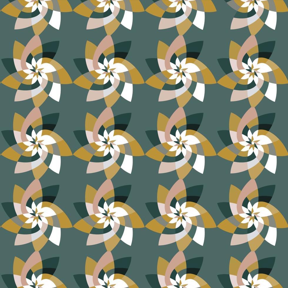 fleur graphique motif répétitif fond vert sarcelle vecteur